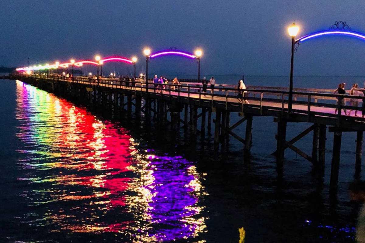 White Rock Pier shows its Pride colours